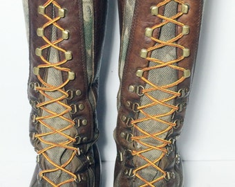 CHIPPEWA Snake Boots Leather Viper Cloth Camouflage Lace Up Combat Military Boots Men's 9