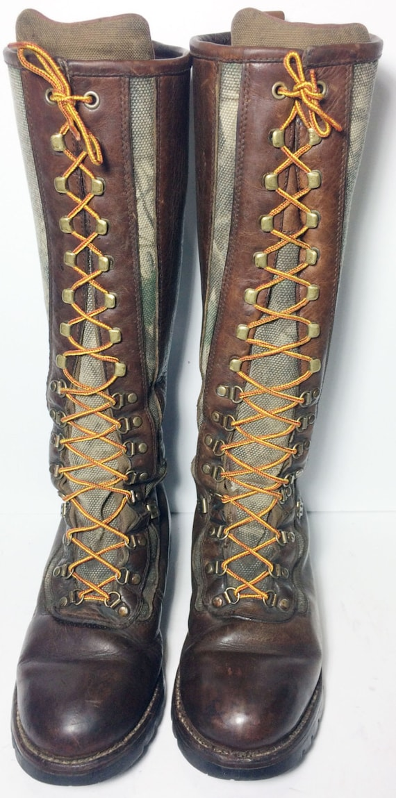 Chippewa Snake Boots Leather Viper Cloth Camouflage Lace Up