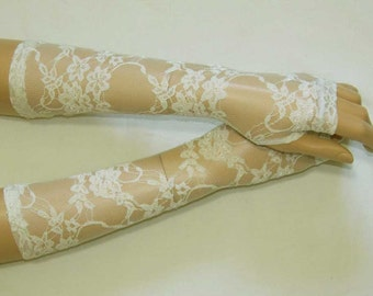 Lace,Retro,Short,Very light Cream,Elegant and Comfortable Arm Warmers,Vampire Gloves,Dance,Sleeves for Women with Thumb Hole.  IDEAL for HER
