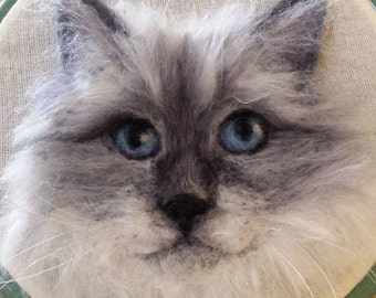 2D Needle Felted Picture Persian Cat