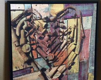 Heart Art Giclee Print Canvas 24x24