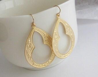 Large Gold Teardrop Earrings, Lightweight, Gold Teardrop Hoops, Long Teardrop Earrings, Gold Teardrop Earrings - 14K Gold Fill Ear Wires