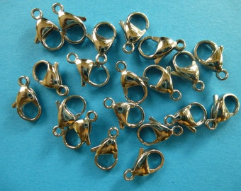 10 lobster clasps, stainless steel.       15mm x 9.5mm      set of 10