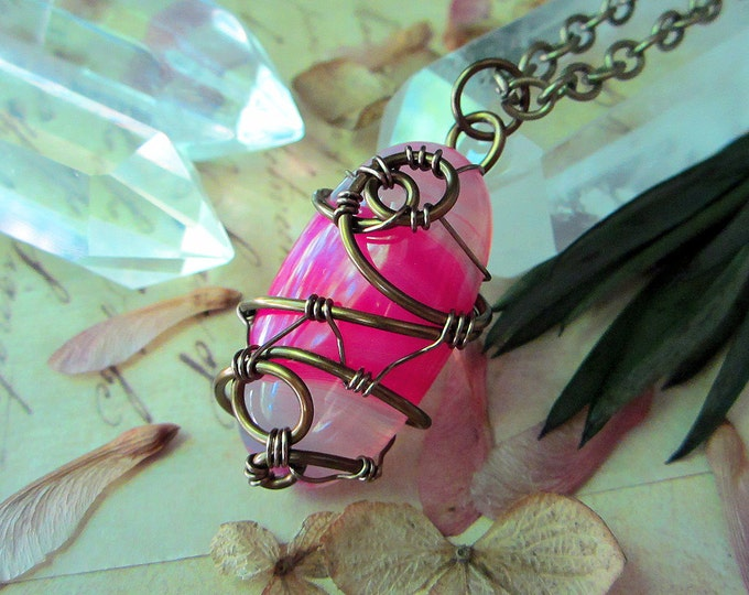 "Wire wrapped hot pink lace Agate necklace ""Tropicana"". Custom chain length."