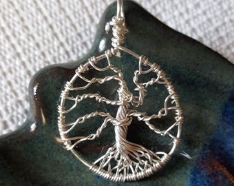 Wire Wrapped Tree Of Life Pendant in Silver