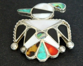Zuni Turquoise Coral Black Onyx MOP Sterling Silver Handmade Thunderbird Native American Pin