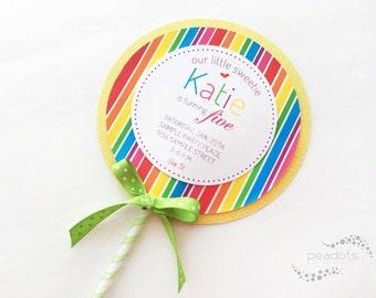 Candyland, Lollipop Invitations
