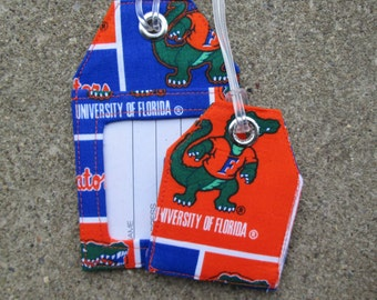 ID Work Badge Protector Luggage Tags made from Florida Gators Orange Blue Fabric Bag and Name Identification Tags for University of Florida