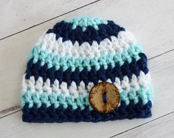 Newborn Hat - Comingt Home Hat - Navy, Aqua, and White - Hospital Hat - Great Gift or Hospital Hat - Crochet Newborn Boy Hat - Boy Beanie