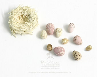 Adorable Bird Nest with Assorted Creamy Gold Pastel Pink Speckled Eggs- PINK-in 1/12 Scale Dollhouse Miniatures