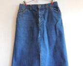 Vintage Ladies 90s Levis Denim Midi Skirt