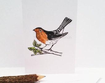 30% SALE Linocut Card, Robin Bird, Handprinted Card, Blank Card, uk