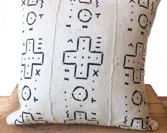 """Mudcloth Pillow Cover, African Mud Cloth, Authentic Mud Cloth Pillow 