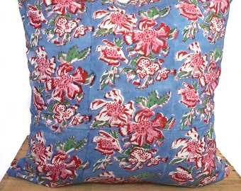 "Indian Block Print Pillow Cover 20"" Blue and Pink"