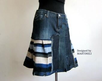 Blue Denim Recycled Skirt Boho Chic Skirt Recycled Sweaters Denim Recycled Patchwork Skirt Patchwork Denim Striped Skirt Boho Skirt
