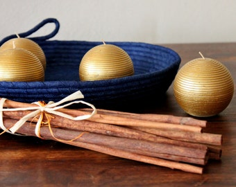 Monochrome Denim Basket, Round Handmade Basket/Tray, Modern Basket/Tray, Home Decor Tray