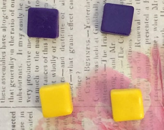Purple and Yellow Square Stud Earrings