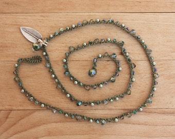 Khaki  Crochet Necklace, Boho Chic Jewelry