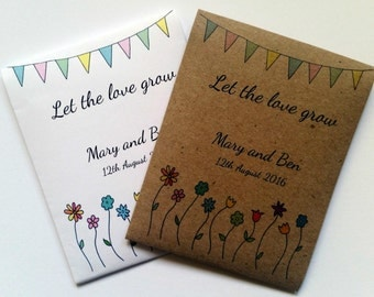 10 Handmade Personalised Wildflower Seeds Wedding Favours Christening Gifts