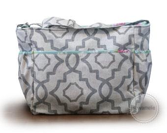 Zipper-top geometric diaper bag tote bag / flowered diaper bag / neutral colors diaper bag