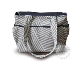 Large Grey stripes polka dot diaper bag / grey stripes knitting bag / grey stripes tote bag / striped diaper bag