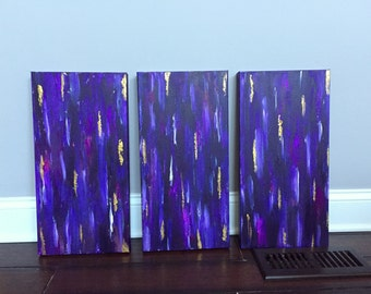 Purple and gold triptych painting