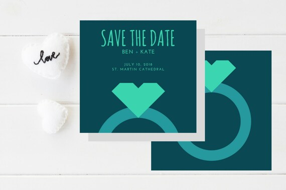 Save the Date Announcement I Engagement I Blue I Diamond I Teal I Illustrated I Simple I Ring