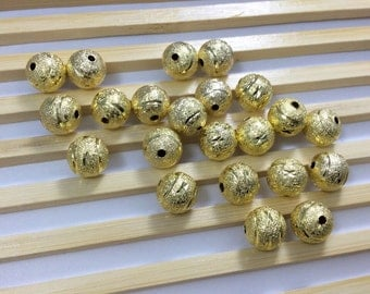 50 pcs  10mm   Gold Plated Brass Beads ,  Metal Balls  Beads , Metal Beads