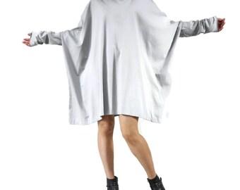Plus Size Funky Boho Longsleeve Scoop Neck Grey Jersey Blouse Tunic Dress Sweater Tee Women Top - TN015