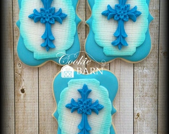 Baptism Christening First Communion Confirmation Boy Custom Decorated Sugar Cookies