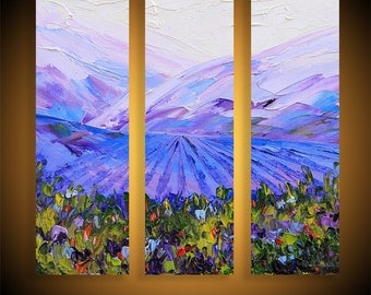 "Vineyard Painting, Triptych Painting, Napa Valley Art, Vineyard Vines, California Landscape, Original Painting,36"" Canvas Art,Large Painting"