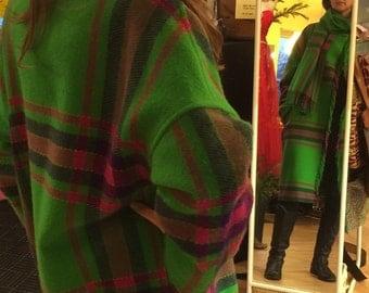 Vtg Blanket Coat w/ Fringe & Scarf