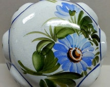 Sale ABC Bassano Hand Painted Ceramic Mold Blue White Floral Wall Hanging