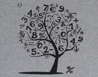 Math Numbers Tree Mens T-shirt Heather Grey