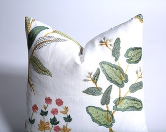 Floral Tea Towel Embroidered Pink and Green Pillow Cover / 18x18 / 20x20 / 24x24 / 28x28 / 14x36-447I