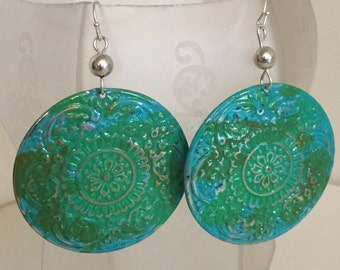 Round Green Patina Earrings