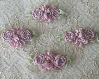 4 Floral Appliques - Ribbonwork - Antique Mauve - Crafts, Sewing, Dolls, Teddy Bears