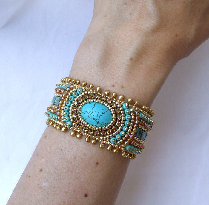 Embroidered Beads: Tutorial Bead Embroidery Bracelet Gold Turquoise Cuff