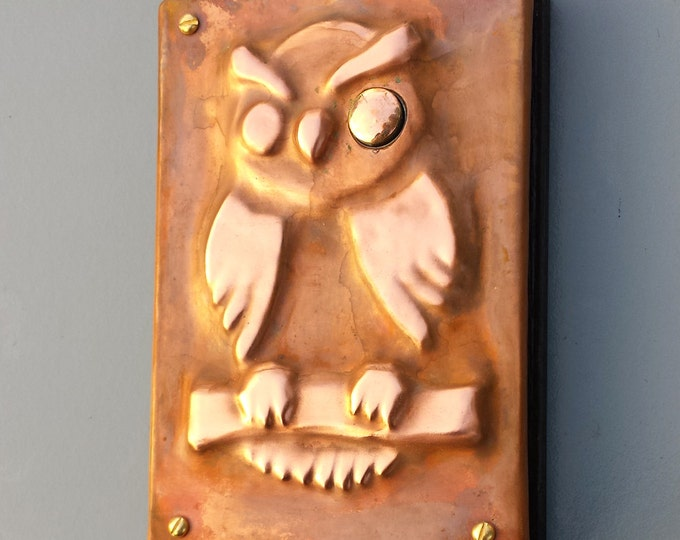 Owl Door Bell Push Button in Copper,  design inspired by medieval door furniture, handmade, for 12/24v connection