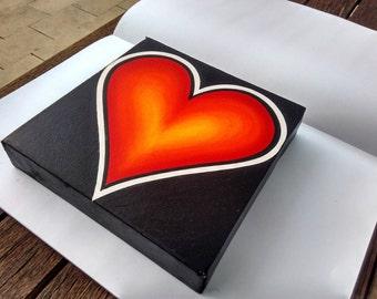 Orange Black Love Heart - Oil on Canvas