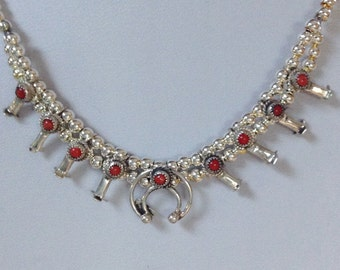 "Native American Navajo Sterling Red Coral Baby Squash Blossom Necklace 16.5"" Signed Larry  Curley"
