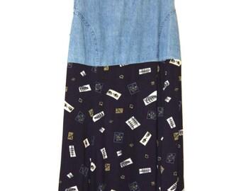 Nineties Denim & cotton dress