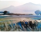 Early morning sun and silhouette. Original watercolour