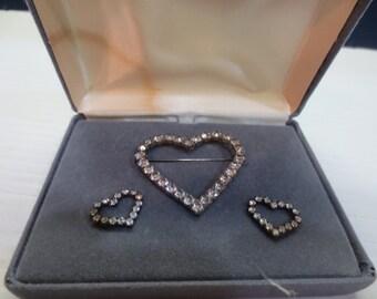Beautiful Rhinestone Heart Brooch Pin With Matching Pierced Earrings