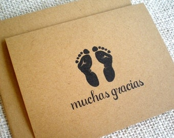 Set of 10 Muchas Gracias Baby Thank You Cards - Baby Shower Spanish Thank You Notes for Baby Boy Girl or Gender Neutral - Baby Footprints