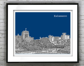 Kalamazoo Skyline Poster Art Print Michigan MI Landscape