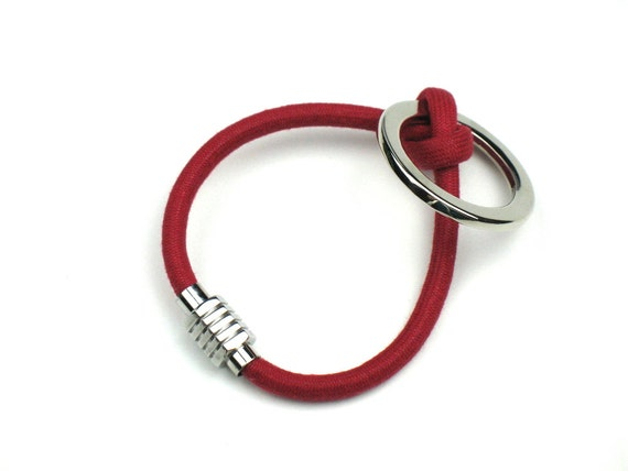 Rope Bracelet in Red and Silver with Magnetic Clasp / Gift For Her / Best Friend Gift / Friendship Bracelet