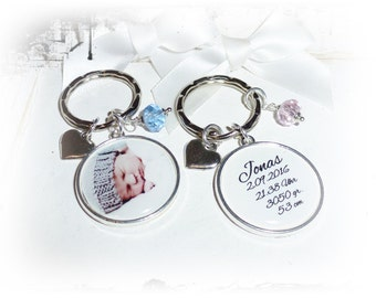 Key ring with photo, date of birth