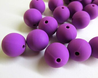 14mm silicone teething beads, vibrant purple, set of 5