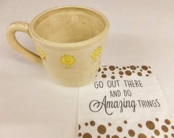 Creamy Tan Speckle Sunshine Coffee Mug, Ceramic Stoneware Pottery